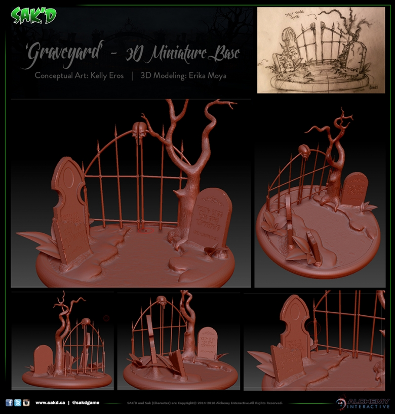 SAK'D 3D Printed Miniature Figure Base - Graveyard