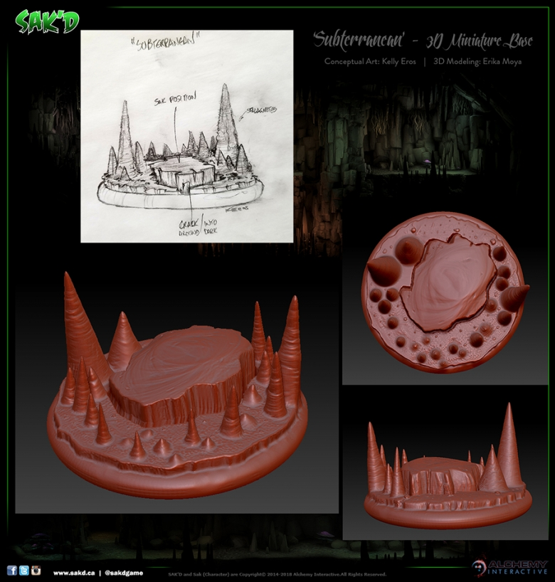 SAK'D 3D Printed Miniature Figure Base - Cavern
