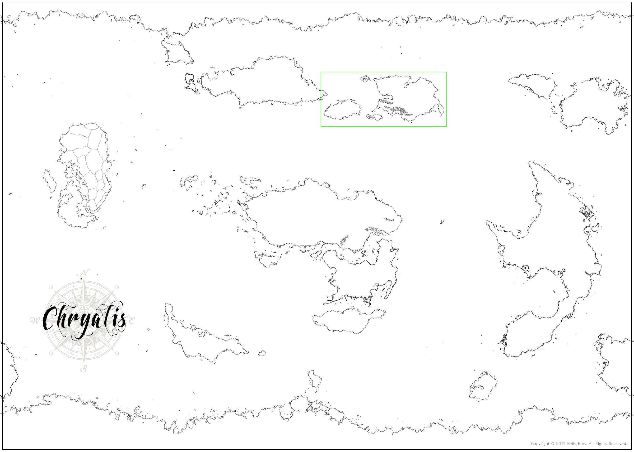 Chryalis World Map - Copyright ©2019 Kelly Eros